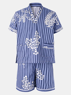 Casual Cotton Khan Steamed Sauna Stripes Stampa Abiti da notte per uomo