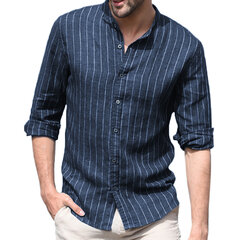 Mens Casual Slim Fit Shirts Cotton Linen Long Sleeve Vertical Striped Stand Collar Shirts