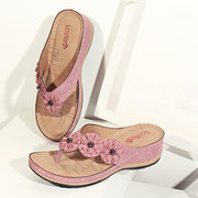 LOSTISY Flower Clip Toe Beach Flip Flops Casual Holiday Wedges Slippers
