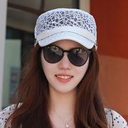 Mujer Verano fino protector solar transpirable plana Sombrero al aire libre Visera de viaje casual Sombrero
