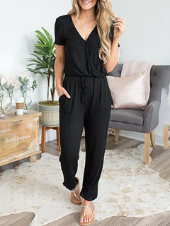 Solid Color Elastic Waist Pocket V-neck Short Sleeve jumpsuit