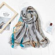 New Big Silk Scarf Female Tassel Belt New Silk Satin Long Holiday Casual Sunscreen Beach Towel Scarf Shawl