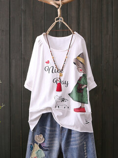 Stampa Cartoon Cute Girl Crew Collo T-Shirt manica corta