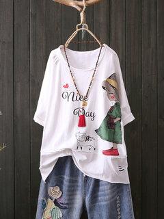Print Cartoon Cute Girl Rundhalsausschnitt Kurzarm Casual T-Shirt