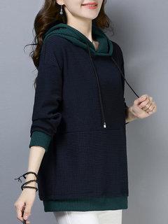 هوديي خليط طويلة الأكمام هوديي للنساء