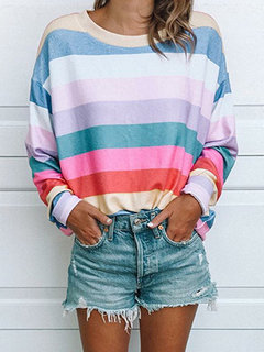 Stripe Crew Neck Long Sleeve Casual Blouse for Women