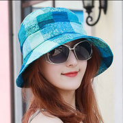 Women Foldable Print Vogue Short Brim Sun Hat Summer Outdoor Travel Beach Sea Bucket Cap
