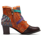 SOCOFY Forest Lace Splicing Retro Pattern Genuine Leather Zipper Comfortable Boots