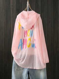 Винтаж Letter Print Защитное кимоно с капюшоном от солнца
