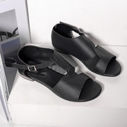 Big Size Women Breathable Hollow Peep Toe Buckle Black Flat Sandals