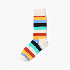 Mens Retro Cotton Stripe Middle Tube Socks Autumn Winter Casual Warm Socks
