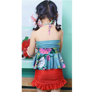 Girls Halter Backless Ruffle Flounce Siamese Floral Elastic Bathing Suits