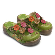 SOCOFY Hand Painted Genuine Leather Flowers Pattern Splicing Butterfly Hollow Slip On Sandals