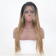 Schwarz verlaufendes Gold geflochtenes langes glattes Haar Perücke Chemiefaser vordere Spitze Haar