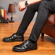 Men Leather Hook Loop Shoes Hollow Out Breathable Sandals