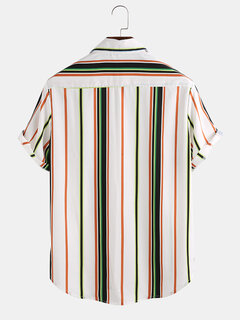 Mens Casual Multi Color Stripe Chest Pocket Short Sleeve Shirts
