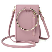 Women Multi-function Solid Ring Phone Bag Shoulder Bag Square Bag Purse