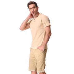 Herren T-Shirt aus Leinen mit chinesischem Kragen V-Ausschnitt Oberteil kurzärmelig einfarbig im sportlichen modischen Stil