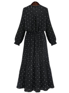 Polka Dot Printed Pleated Long Sleeve Dress