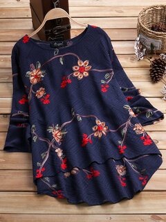 O-NEWE Vintage Flower Embroidery Long Sleeve Blouse