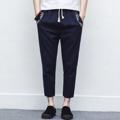 Mens National Style Baumwolle Leinen Volltonfarbe Drawstring Casual Straight Pants