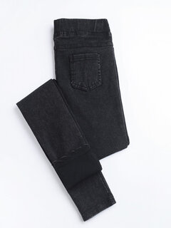 Solid Color Pockets Elastic Casual Denim