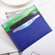 Genuine Leather Stitching Color Card Holder Coin Purse For Women