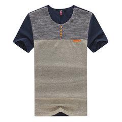Mens 95% cotone elegante patchwork Idoneità collo tondo colletto tinta unita manica corta O-collo T Camicia
