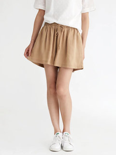 Pure Color Drawstring Bandage - Leger Shorts mit weitem Bein