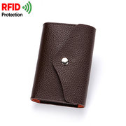 RFID Antimagnetic Genuine Leather Wallet 14 Card Holders Coin Bag For Men Women