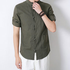 Men Chinese Style Retro Design Linen Shirts With Pocket