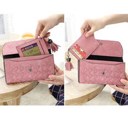 Women PU Leather Card Holder Hasp Wallet Key Bags Coin Bag