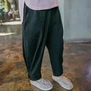 Baumwolle Leinen Jungen einfarbig bequeme beiläufige Hosen für 2Y-9Y