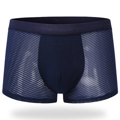 Sexy Ice Silk Transparent Stripes Printing Boxer Briefs for Men