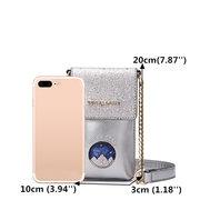 Women PU Leather Phone Bag Casual Mini Crossbody Bag Chain Shoulde Bag