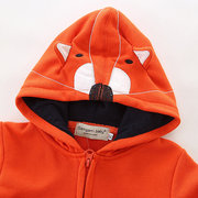 Warmer Fleece-Cartoon Fox Boys Kids Jacken Mit Kapuze Reißverschluss-Mantel für 2Y-9Y