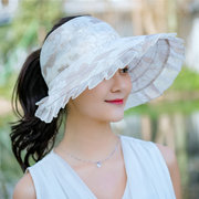 Women Summer Wide Large Brim Floppy Anti-uv Beach Sun Hat Casual Breathable Foldable Visor Cap