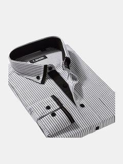 Uomo Camicia Di 9 Colors A Striscie Con Manica Lunga Di Bavero