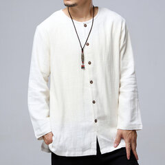Mens National Style Vintage Solid Color Long Sleeve Loose Crew Neck Cotton Casual Shirt