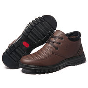 Men Comfy Plaid Warm Plush Lined Lace Up Casual Ankle Boots