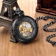 Leuchtender mechanischer Taschenuhr-Liebhaber-Geschenk-Kette-mechanische Handwickel-Steampunk-Skeleton Uhr