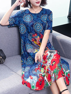 Printed Thin Short Sleeve A-line Female Dress