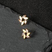 Luxury Gold Red White Flower Earrings Fashion Rhinestones Stud Cute Earrings Gift for Girls Women