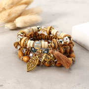 Ethnic Hollow Leaf Elephant Tassels Charm Pendant Vintage Elastic Multilayer Cuff Beaded Bracelets