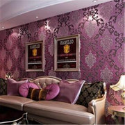 10M Roll Damask Embossed Texture Wall Decor Luxury Purple Wallpaper Home Decor