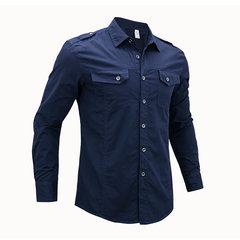 Camisa de algodón con diseño de charretera militar de dos bolsillos en el pecho para hombres