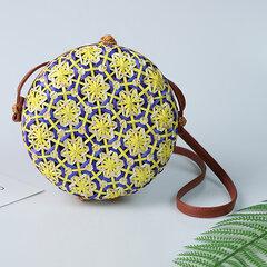 Women Bamboo Bohemian Style Beach Bag Round Shoulder Bag