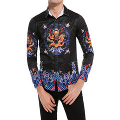 Black Stylish Chinese Style Dragon Printing Designer Shirts for Men