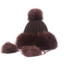 Damen Warme Winter Strickmütze Hut Outdoor Casual Plus Samt Verdicken Winddicht