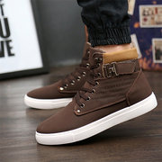Men Large Size High Top Leather Lace Up Casual Shoes